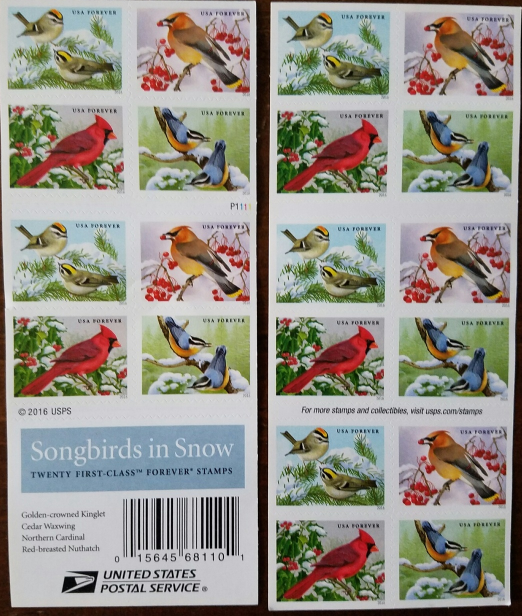 Christmas Songbirds in Snow First Class (USPS) FOREVER STAMPS 20