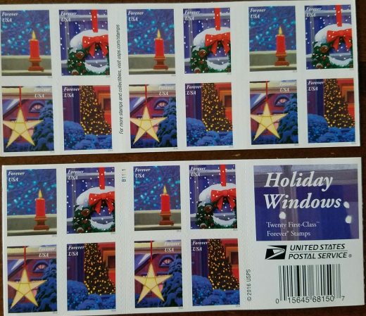 Christmas Holiday Windows First Class (USPS) FOREVER STAMPS 20