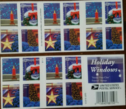 Christmas Holiday Windows First Class (USPS) FOREVER STAMPS 20 - $13.95