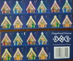Christmas Gingerbread Houses First Class (USPS) FOREVER STAMPS 20 - $13.95
