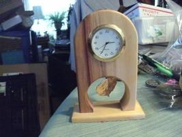 012#A   Desktop Clock Made in Colorado Aspen wood, battery operated, gol... - $14.84
