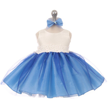 Royal Blue Two Tone Organza Flower Baby Birthday Pageant Party Wedding Dress - $32.00