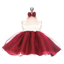 Burgundy Two Tone Organza Flower Baby Birthday Pageant Party Wedding Dresses - $32.00
