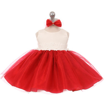 Red Two Tone Organza Flower Baby Birthday Pageant Party Dance Wedding Dresses - $32.00
