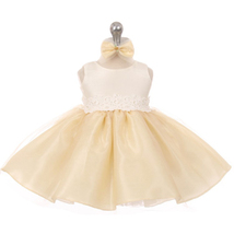 Champagne Two Tone Organza Flower Baby Birthday Pageant Party Wedding Dresses - $32.00