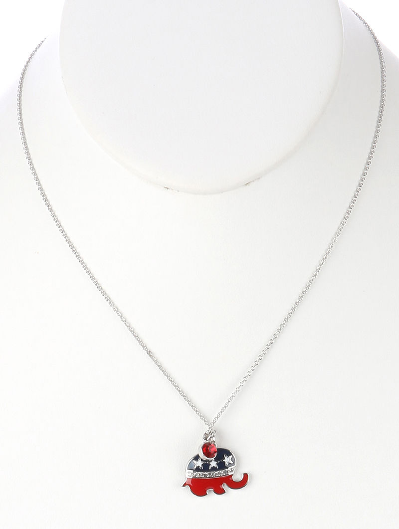 Republican Elephant Pendant Necklace Red Charm 18 Inch Chain