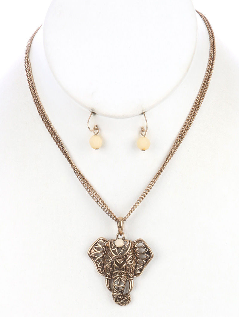 Elephant Pendant Necklace and Earrings Set GoldTone 16 Inch Chain