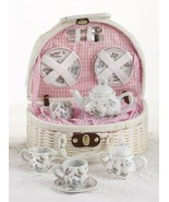 Delton Pink Butterfly Children's Tea Set Party Teaset with White Basket - $32.95