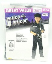Police Officer Child Costume Shirt Pants Badge Belt Handcuffs Hat Size L... - $14.84