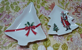 Vintage CHRISTMAS TREE Snack Plates Santa Claus Holly Berry Cookie Plates - $14.00