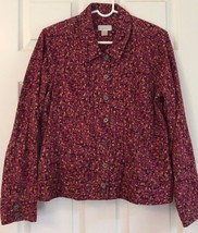 Christopher Banks Cotton Jacket Blazer Size L Pink Print Jean Jacket Style - $19.75