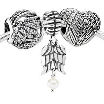925 Sterling Silver Charms Beads Gift Set Fit European Bracelet-Angel Above - $49.99