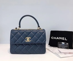 AUTHENTIC CHANEL BLUE QUILTED LAMBSKIN TRENDY CC 2 WAY FLAP BAG GHW