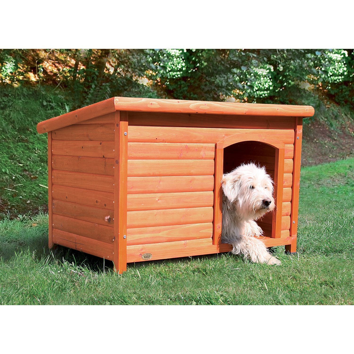 Large Wood Dog House Outdoor Breeds 70 Lbs Raised Puppy Shelter Flat Hinged