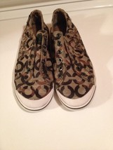 Women Coach Keeley Brown Signature Canvas Lace-less Slip On Sneakers Sho... - $25.58