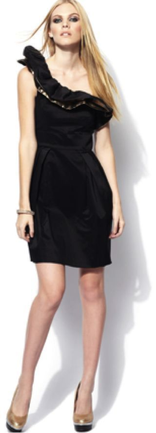 NWT JILL STUART One-Shoulder Gold Ruffle Detail Black Dress Sz 8 $278 (Save $69)
