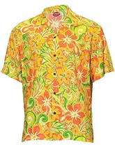 Hawaiian Rayon Shirt Island Retro Good Times Design,XL,CORAL - $46.95