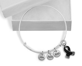 12 Black Ribbon Awareness Retractable Charm Bracelets in a Gift Box (Who... - £64.54 GBP