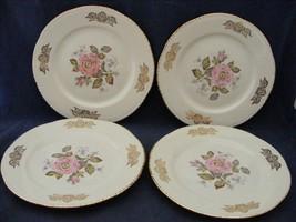 "4 Homer Laughlin Queen Esther 7 3/16"" Salad Plates Pink Rose Gold Trim Mint  - $39.95"