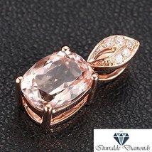14k Rose Gold Oval Cut Morganite Pave Diamond Pendant - $364.32
