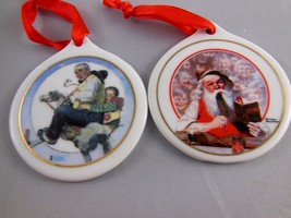 2 Norman Rockwell Ceramic Christmas Ornaments Gramps at Reins & Santa's Children - $9.00