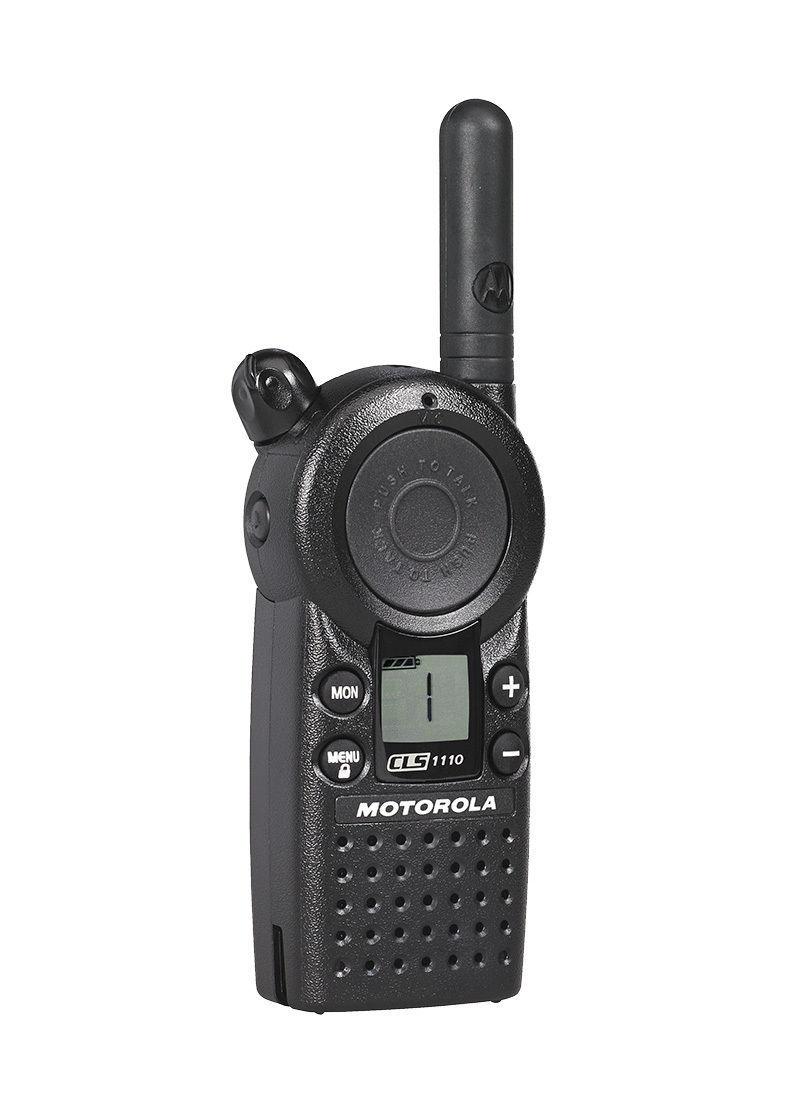 6 motorola cls1110 two way radio walkie talkie with 6 hkln4601 ptt earpieces walkie talkies. Black Bedroom Furniture Sets. Home Design Ideas