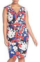 Adrianna Papell Print Faux Wrap Jersey Sheath Dress Sz 14 - $53.74