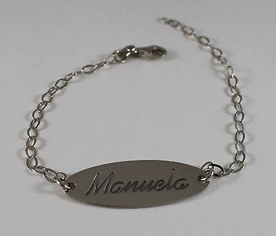 Bracelet in Sterling Silver 925 Rhodium with Plate with Name Manuela