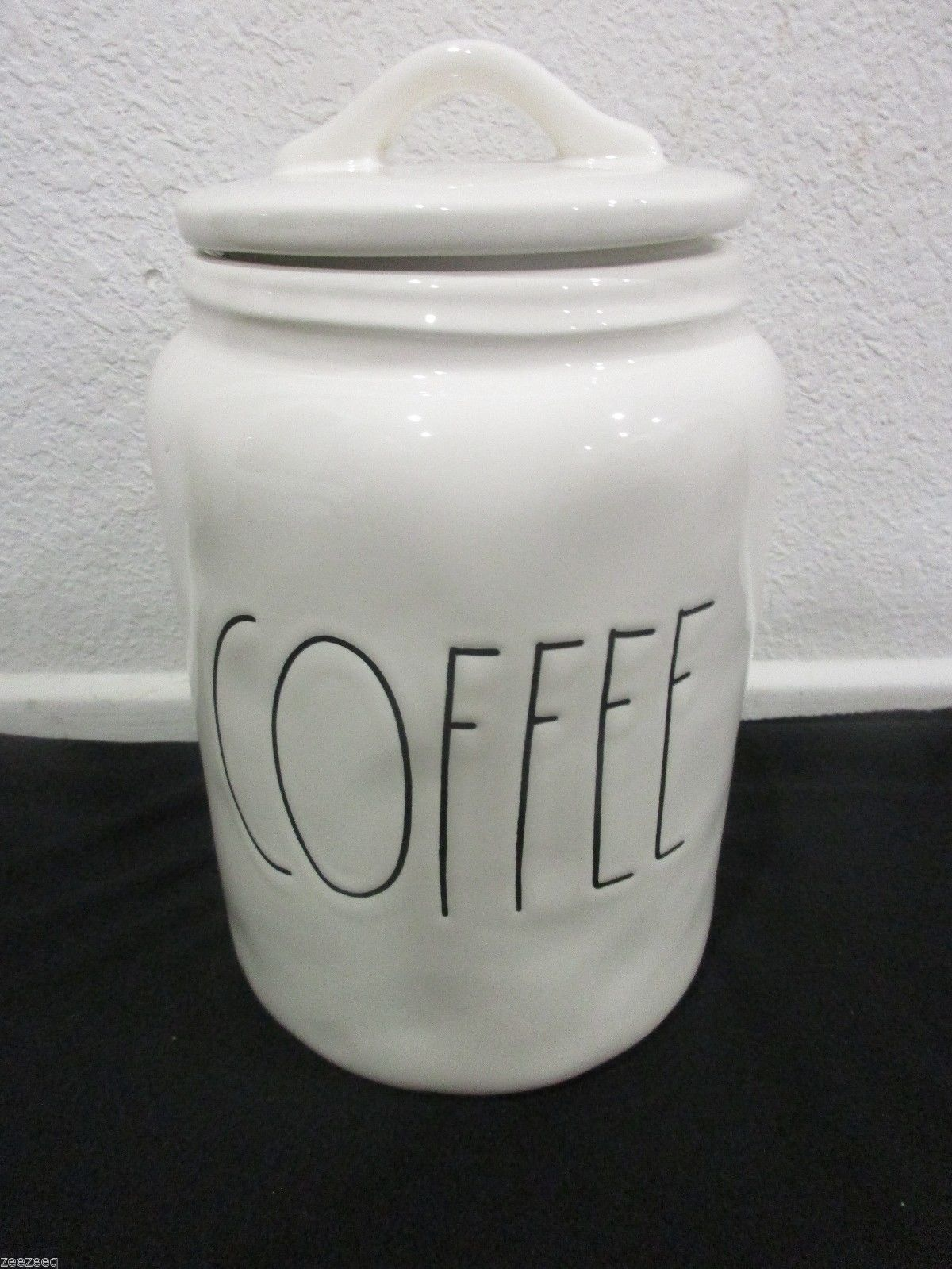 Magenta Rae Dunn Artisan Coffee Canister Jar Black Ivory