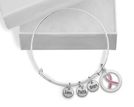 Pink Ribbon Cancer Awareness Retractable Charm Bracelet (Retail) - £14.34 GBP