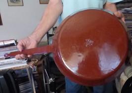 """Antique Red Brown Huge 13.5 x 26"""" Enamel Agate Graniteware Fry Pan Open ... - $123.75"""