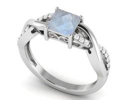 Newest Rainbow Moonstone Square Shape Gemstone 925 Silver Ring Sz 6.5 SH... - £13.01 GBP