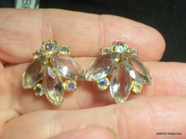 vintage d&e lavender marquis crystal crystal clear ab rs clip-on earring... - $20.00