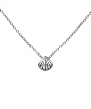 Silver Shell Necklace, Solid 925 Sterling Silver Ocean Clam Shell Charm ... - $19.00