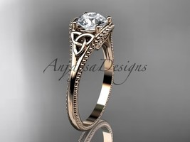 Unique Celtivc bridal ring, 14kt rose gold celtic trinity knot wedding r... - $750.00