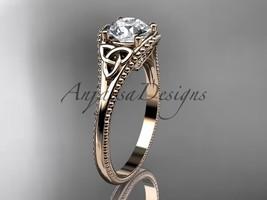Unique Celtivc bridal ring, 14kt rose gold celtic trinity knot wedding r... - $750.00