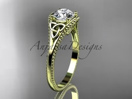 Unique Celtivc engagement ring, 14kt yellow gold celtic trinity knot wed... - $750.00