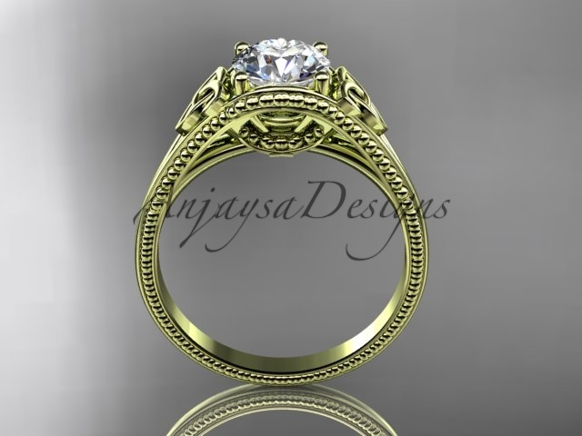 Unique Celtivc engagement ring, 14kt yellow gold celtic trinity knot wedding rin