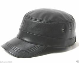 Neu Herren Leder Kadett Militär Mützen Schwarz Hüte Motorrad-Hut Leather... - ₨1,248.84 INR
