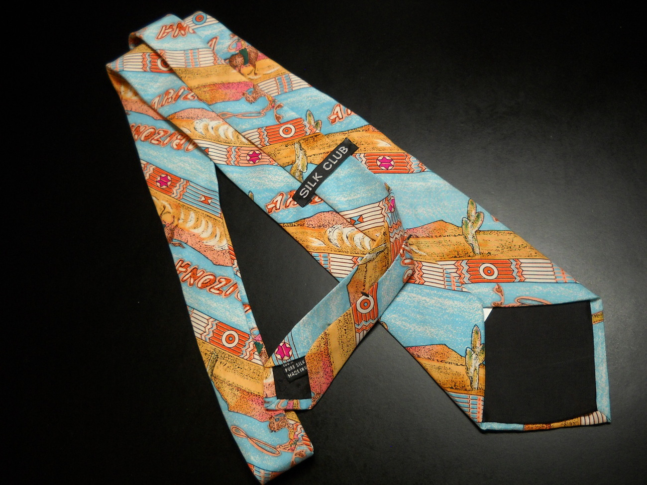 Silk Club Dress Neck Tie Arizona Theme Cowboy Native American Sky Blues Soft