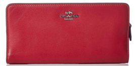 COACH NWT Smooth Leather Skinny Wallet 51936 Bifold Silver Red Current - $78.19