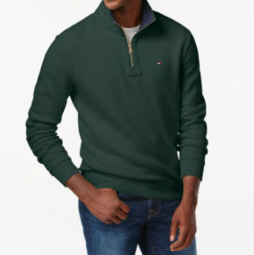 Tommy Hilfiger Quarter Zip Mock Collar Sweater Dark Green Zinfandel Size S XXL