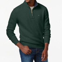 Tommy Hilfiger Quarter Zip Mock Collar Sweater Dark Green Zinfandel Size... - £29.63 GBP