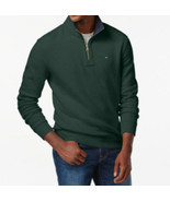 Tommy Hilfiger Quarter Zip Mock Collar Sweater Dark Green Zinfandel Size... - $39.98