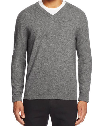 Bloomingdales Men's V Neck Cashmere Sweater Blue Haze Size XXL MyAFC
