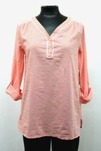 TOMMY HILFIGER BLOUSE SHIRT BUTTON ROLL LONG SLEEVE EMBROIDERED PINK SIZ... - $31.98