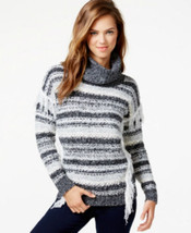 Kensie Fringed Multi-Yarn Turtleneck Sweater Ivory Gray Black Combo Size... - $38.99