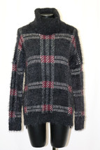 Sanctuary High Low Fuzzy Plaid Turtleneck Sweater Black White Mulberry XS - $38.99