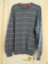 Izod Men's Size XL Blue & Gray L/S Sweater Striped Crew Neck Excellent C... - $8.90