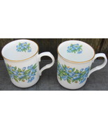 2 Crown Trent Summer Blooms Mugs England Fine Bone China Cups - $20.00